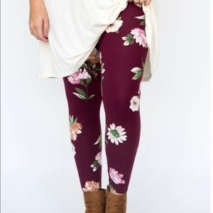 Plum Spaced Floral Leggings by Agnes & Dora